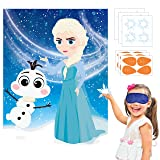 Ticiaga 24pcs Frozen Kids Party Stickers Game, Pin The Nose and Magic Ice Snowflake On Large Elsa and Olaf Poster Good for Big Winter Wonderland Theme Birthday Party, Princess Theme Party Favor Supply