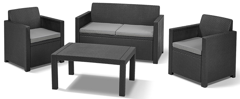 Allibert 219851 Lounge Set Merano (2 Sessel, 1 Sofa, 1 Tisch), Rattanoptik, Kunststoff, graphit jetzt bestellen