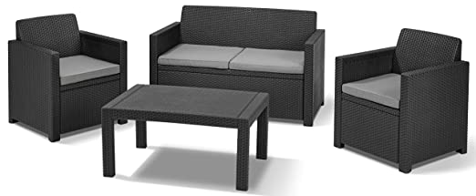 Allibert Lounge Set in Rattanoptik, Merano (2 Sessel, 1 Sofa, 1 Tisch), Lounge Set Rattan, stabiles Kunststof Lounge Set, grafit