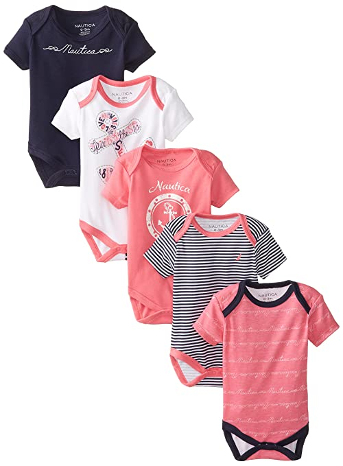 Nautica Baby-Girls Newborn Assorted 5 Pack Baby Girls Bodysuits, Assorted, 3 Months