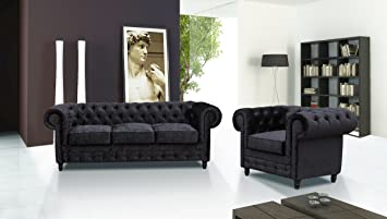 Lovesofas Camden Chesterfield Canapé 3 + 1 places en velours écrasé Suite – Noir