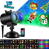 Ocean Wave Halloween Christmas Projector Lights 16 Slides 10 Colors 2-in-1 Moving Patterns with Ocean Wave LED Landscape Lights Waterproof Outdoor Indoor Xmas Theme Party Yard Garden Decorations