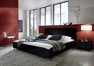 SAM® Polsterbett Bett Zarah in schwarz 140 x 200 cm Kopfteil im abgesteppten modernen Design Chrom farbene Fuße Wasserbett geeignet teilzerlegt Auslieferung durch Spedition