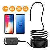 BlueFire Upgraded 1080P 5.5mm Semi-Rigid Inspection Camera, 2 MP HD WiFi Borescope Snake Camera, Zoomable Focus 1800mAh Battery Wireless Endoscope for Android and iOS Smartphone, Tablet (11.5FT) (Color: WIFI 11.5FT)