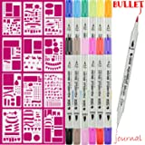 Bullet Journal Supplies, 12color Dual Art marker fineliner pens and 12pcs Notebook Diary Scrapbook Templates Plastic Planner Kit