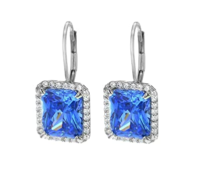 Myia Passiello Women's Platinum Plated Sterling Silver Aspirations Swarovski Zirconia Fancy Blue Earrings