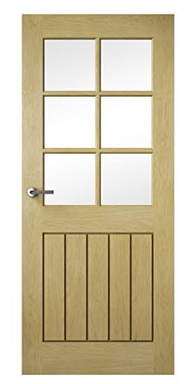 Premdor 82436 686 x 1981 x 35 mm Croft Solid Fully Finished Glazed Interior Door - Oak