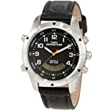 Timex Men's T49827 Expedition Rugged Chronograph Analog-Digital  Black Leather Strap Watch