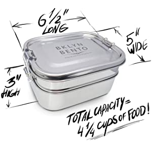 Stainless Steel Bento Box Lunch Box Set With Black Neoprene