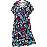 Amoy-Baby Women's Cotton Blend Green Floral Nightgown Casual Nights XTSY001-Black Coffee-2XL
