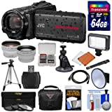 JVC Everio GZ-R550 Quad Proof Full HD 32GB Digital Video Camera Camcorder + 64GB Card + Suction Cup Mount + Case + LED Light + 3 Filters + Tripod + Tele/Wide Lens Kit (Color: Black)