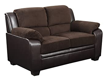 Global Furniture U880018KD-CHOC-L Corduroy Loveseat, Chocolate Brown PVC Finish
