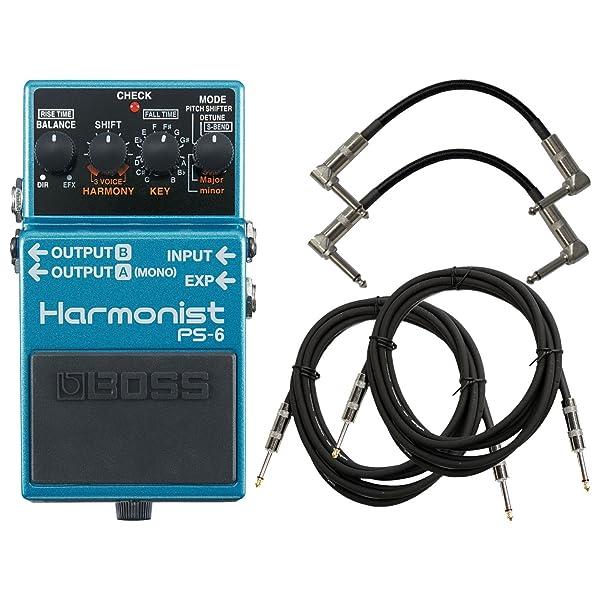 Boss PS-6 Harmonist Pitch Shifter Bundle w/4 Cables (Color: Blue)