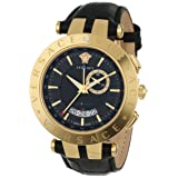 Versace Men's 29G70D009 S009 V-RACE Yellow Gold Ion-Plated Stainless Steel Watch (Color: Black/Gold)