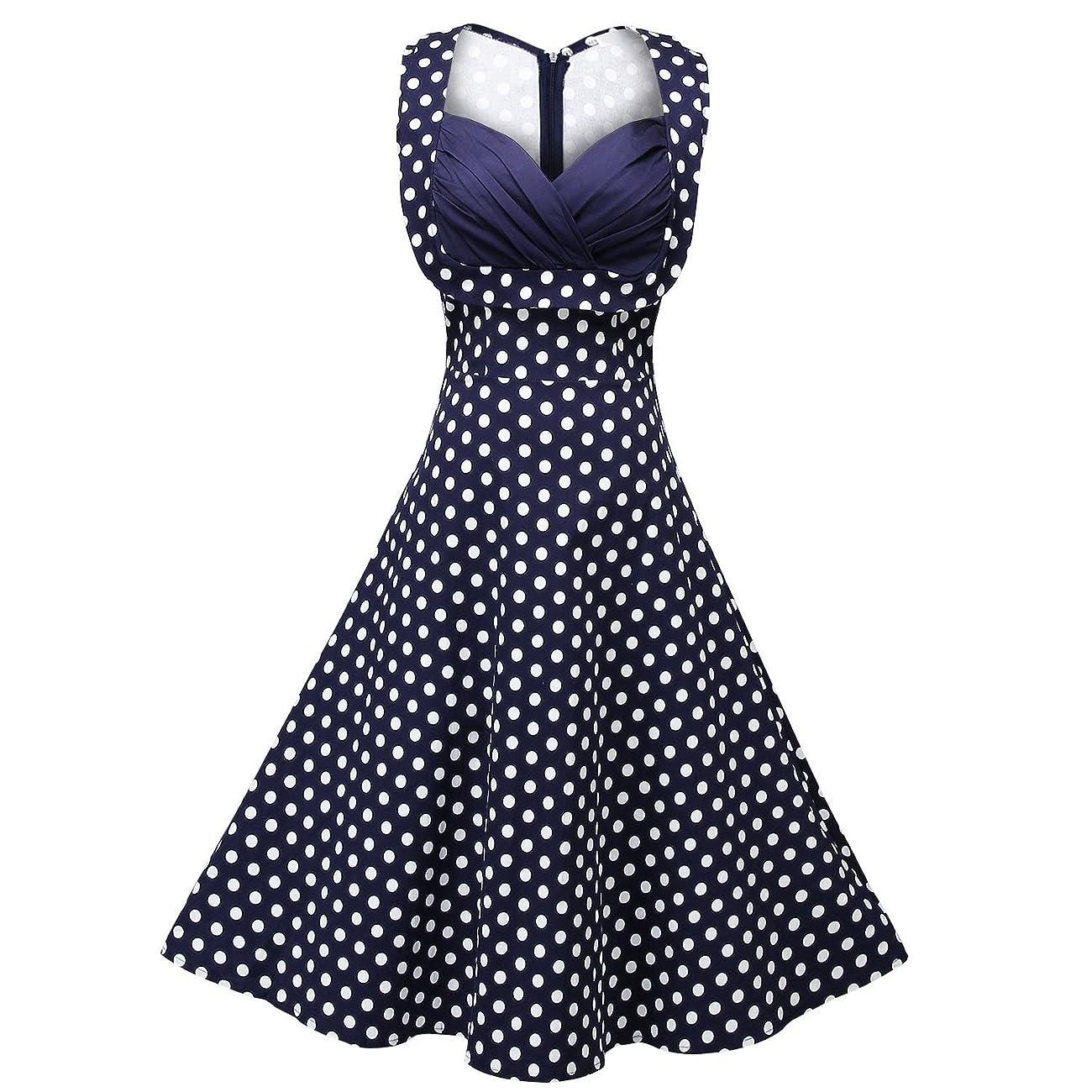 Creti Women's 1950s Vintage Halter Polka Dot V-Neck Sleeveless Swing Dress 0