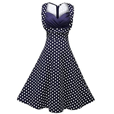 Creti Women's 1950s Vintage Halter Polka Dot V-neck Sleeveless Swing Dress