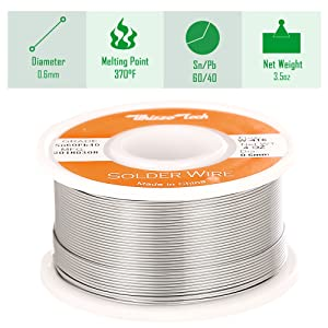Whizzotech Solder Wire 60/40 Tin/Lead Sn60Pb40 with Flux Rosin Core for Electrical Soldering 4oz/100g/0.22lb Diameter 0.023 Inch/0.6mm (Tamaño: 4oz/100g/0.22lb)