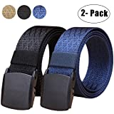 WYuZe 2 Pack Nylon Belt, Outdoor Military Web Belt Men's Tactical Webbing Belt(bblue)