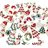 Dandan DIY 38pcs Christmas Pendant Charm for Necklace Bracelet Jewelry Making Clothes Sewing Bags Decoration Charm Diy Scrapbooking Supply (Christmas Styles 2) (Color: Christmas Styles 2)