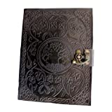 Handmadecraft Large Tree of Life Leather Journal Diary Notebook for Writing Leather Diary Handmade Leather Journal (Color: Black, Tamaño: 1/4 LARGE TREE 9.5