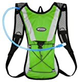 KUYOU Hydration Pack Water Rucksack Backpack Bladder Bag Cycling Bicycle Bike/Hiking Climbing Pouch + 2L Hydration Bladder,(Green+Water Pouch)