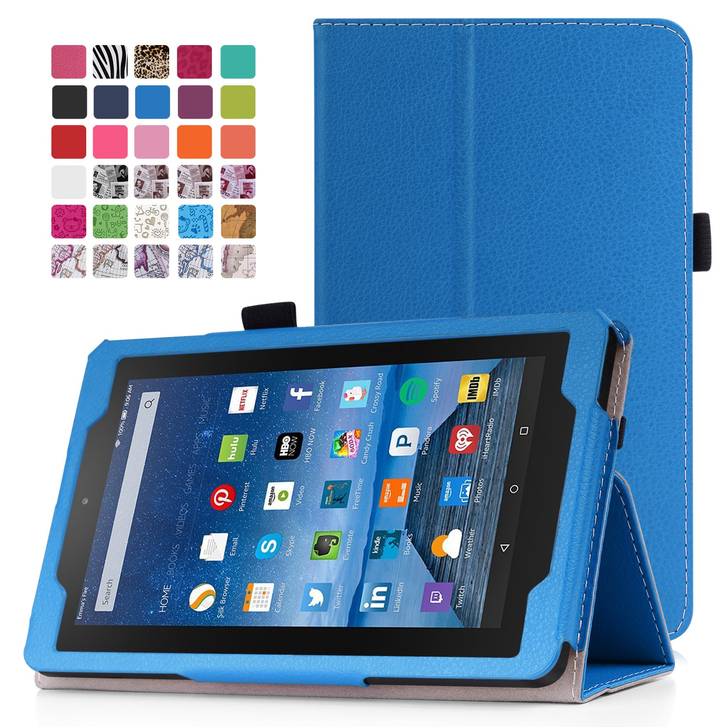 MoKo Fire 7 2015 Case - Slim Folding Cover for Amazon Fire Tablet (7 inch Display - 5th Generation, 2015 Release Only), BLUE