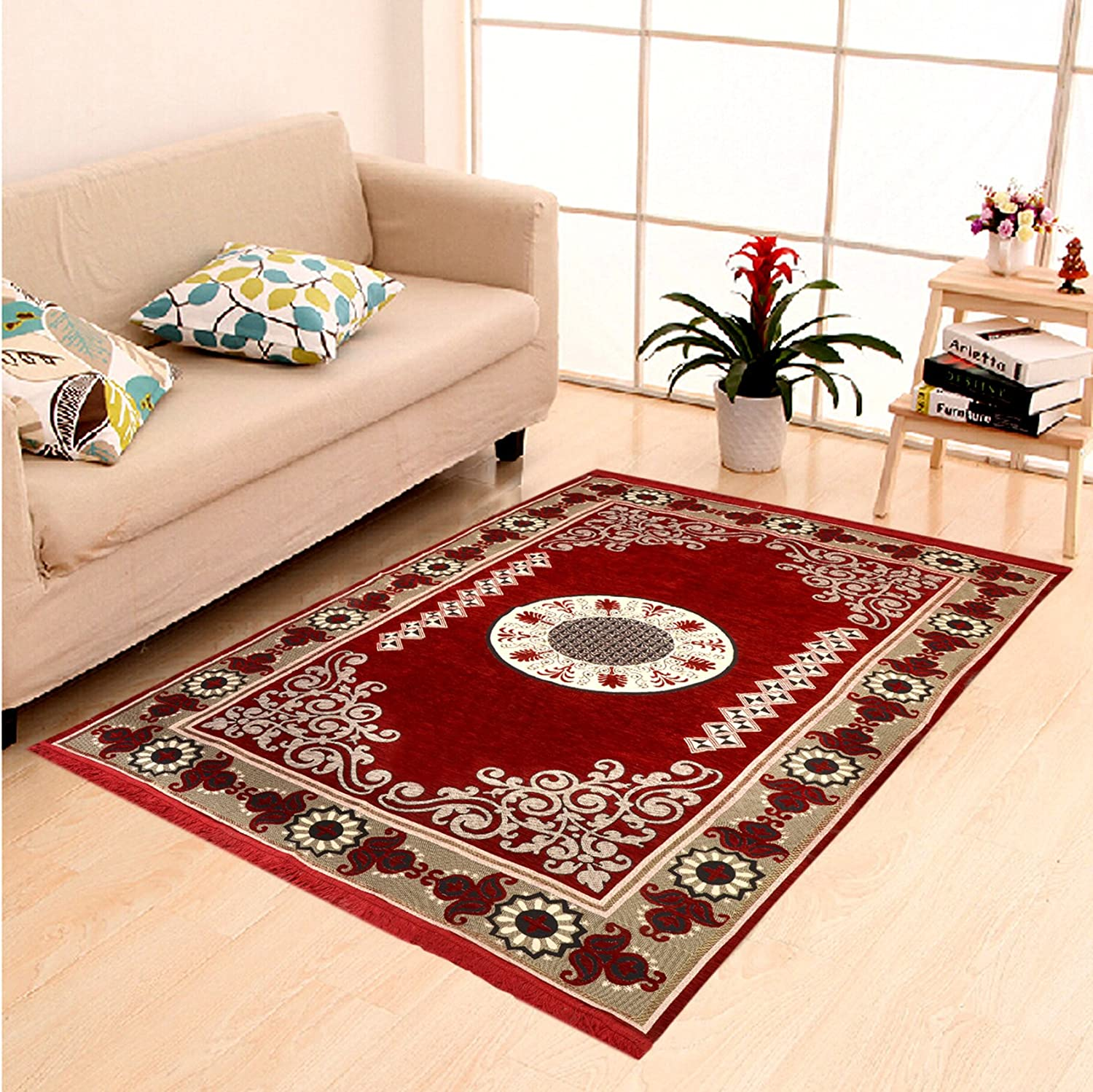 Buy Home Elite Ethnic Velvet Touch Abstract Chenille Carpet 55 X80 Maroon Online At Low Prices In India Amazon In