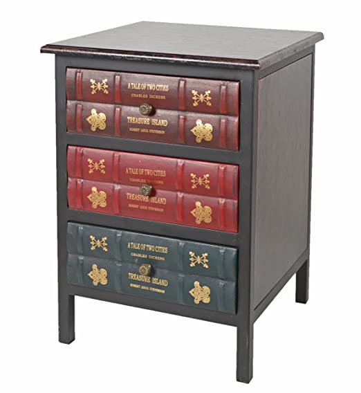 Kommode Schrank Vintage Antik Buch Design Standregal British Style 43 x59 cm