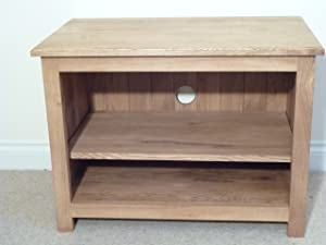 Solid Oak TV unit, stand or cabinet, 600 x 550mm with 1 shelf, great for the Bedroom or Conservatory       Customer reviews and more information