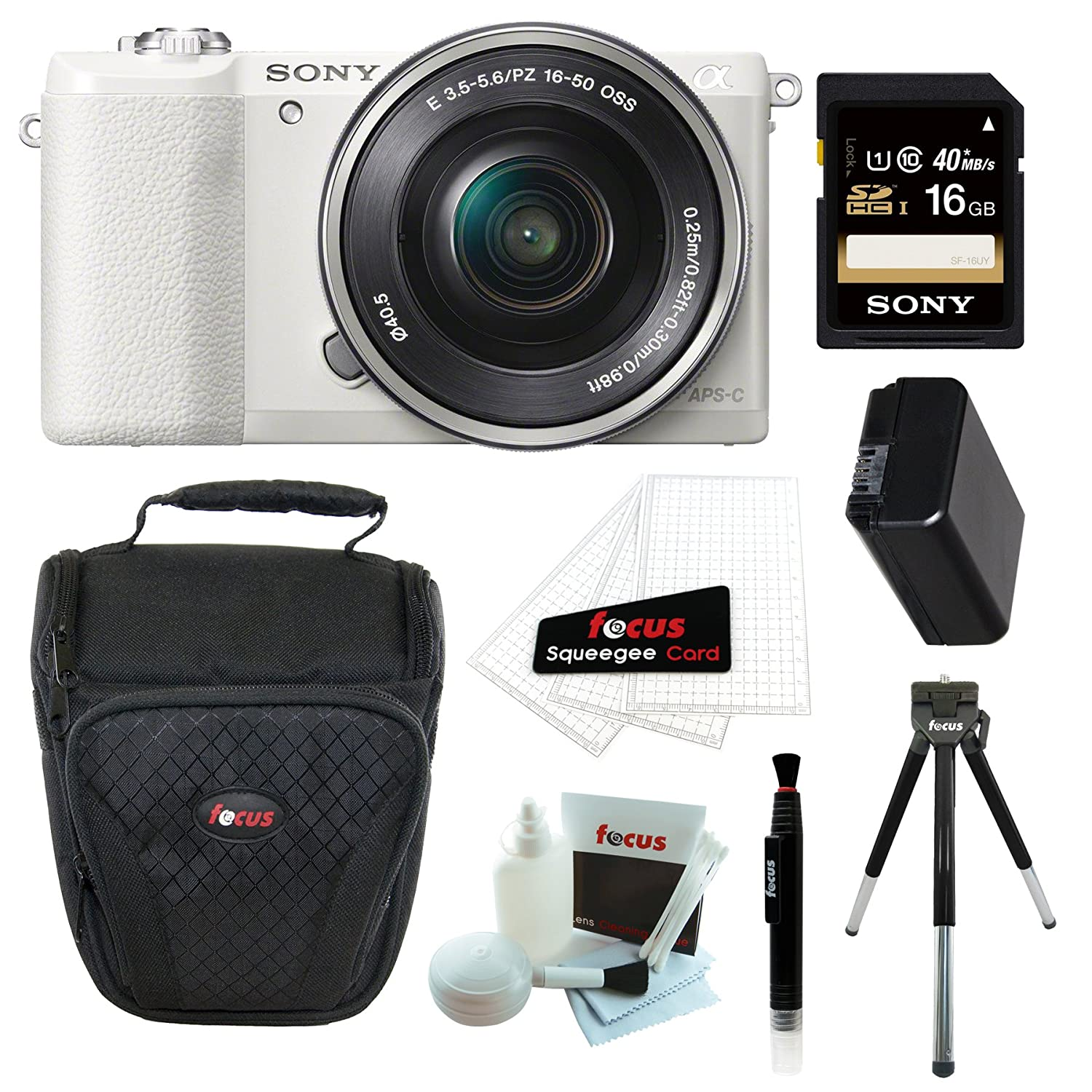 Sony Alpha a5100 ILCE5100 ILCE5100L/W with 16-50mm Lens 24MP Mirrorless Interchangeable Lens Digital Camera (White) + Sony 16GB Class 10 Memory Card + Additional NP-FW50 Battery + Accessory Bundle