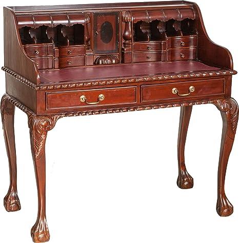 Bureau Lady clever-moebel bureau secrétaire en bois d'acajou finition noyer massif 103x 64x 105cm