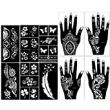 Stencils for Henna Tattoos (10 Sheets) Self-Adhesive Beautiful Body Art Temporary Tattoo Templates, Henna, Flower, Butterfly Designs (Tamaño: Mix Pack)
