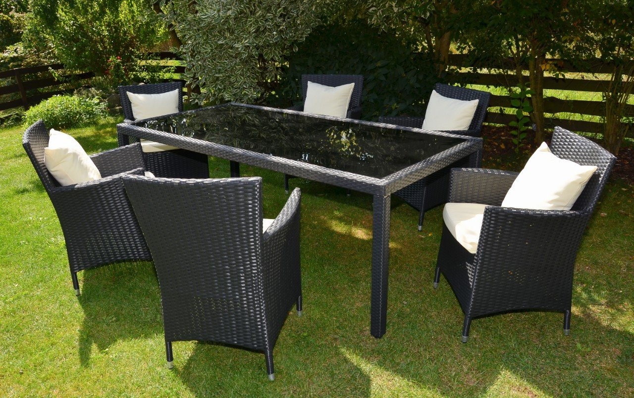 rattan gartenm bel sitzgruppe bologna schwarz braun 7 teilig tisch 200 cm alurahmen hochwertig. Black Bedroom Furniture Sets. Home Design Ideas