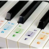 Color Piano Stickers for 49/61/ 76/88 Key Keyboards – Transparent and Removable with Free Piano Ebook: Made in USA