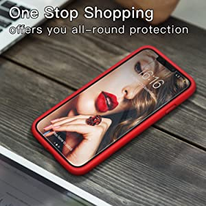 JASBON Compatible with iPhone Xs/X Case, iPhone 10 Case, Liquid Silicone Phone Case with Free Screen Protector Gel Rubber Shockproof Cover Full Protective Case for Apple iPhone Xs/X-Red (Color: Air Red)