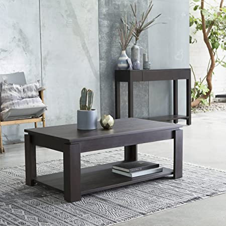 mesa baja de centro sofá auxiliar 100 x 60 cm madera mahagoni caoba cuadrada