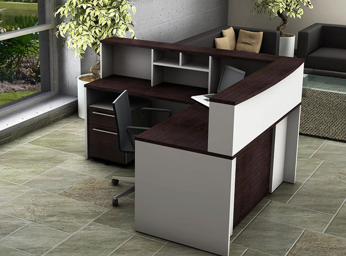 OfisLite 2311 Reception Center Desk Complete Group Including Mobile Filing Cart, White/Espresso, 5 Piece