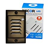 NICOR Lighting LED Step Light with Photocell Sensor and Vertical Faceplate, Oil-Rubbed Bronze (STP-10-120-VOB-PC)