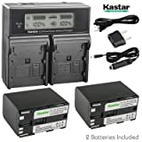 Kastar LCD Dual Fast Charger + 2x Battery for Canon BP-970G BP-975 & EOS C100 EOS C100 Mark II EOS C300 C300 PL EOS C500 C500 PL GL2 XF100 XF105 XF200 XF205 XF300 XF305 XH A1S XH G1S XL H1A XL H1S XL2 (Tamaño: 2 batteries + 1 LCD dual charger)
