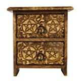 Chest of 2 Small Wooden Drawers Hand Carved with Pentacle Star Design Trinket Storage Organizer Box - aheli