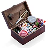 Wooden Sewing Kits Sewing Boxes and Baskets with Sewing Accessories Kit, Good for Adults/Kids/Girls (Color: Family sewing kit with wooden box)