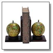Wood Metal Globe Book End 8 by 6-Inch