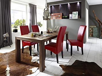 Esstisch-Gruppe Walnuss geölt 200x100 cm recht-eckig mit 6 Kunstleder-Stuhlen | Essgruppe aus massivem Walnussholz mit 6 roten Polster-Stuhlen | Tischgruppe mit Esstisch 200cm x 100cm 7 tlg.