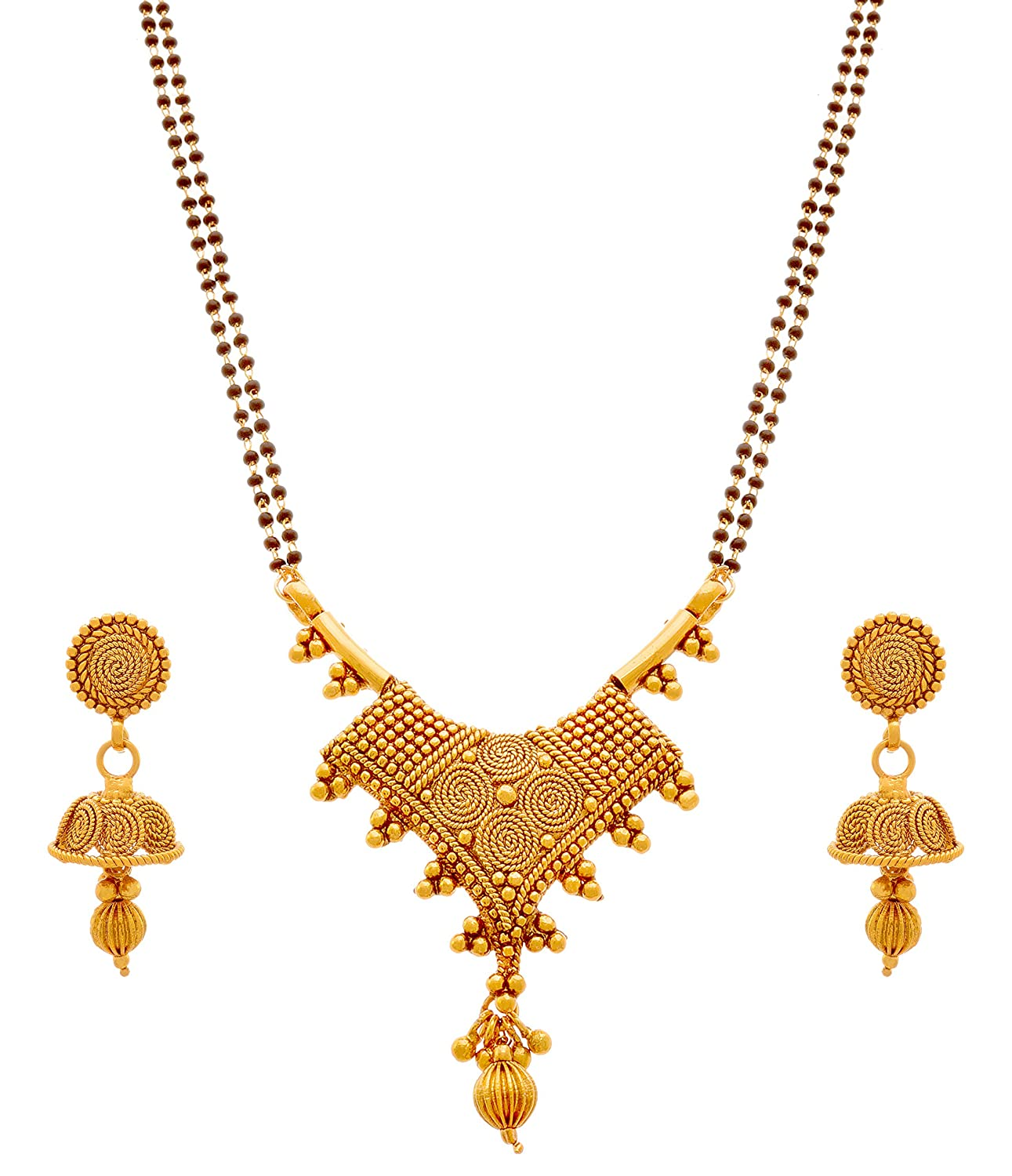 Gold Plated Black Bead Chain Designer Mangalsutra with Earring
