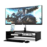 1homefurnit Wood Monitor Stand Riser Desk Storage Organizer, Speaker TV Laptop Printer Stand with Cellphone Holder and Cable Management, 21.3 inch 2 Tiers Shelves Black (Color: Black, Tamaño: 21.3inch 2 Tier)