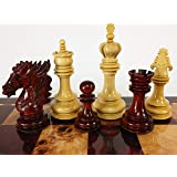 HPL Blood Rosewood Dragon 4 5/8 Inch King 4 Queens Large Staunton Chess Men Set - NO Board or Storage