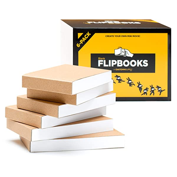 "Blank Flipbooks (Flip Book) for Animation, Sketching, and Cartoon Creation, 6 Pack, 4.5"" x 2.5"", 180 Pages (90 Sheets) :: Thick, No Bleed Drawing Paper with Sewn Binding :: Fun, Creative Craft for Kid"
