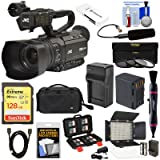 JVC GY-HM180U Ultra 4K HD 4KCAM Professional Camcorder & Top Handle Audio Unit with XLR Microphone + 128GB Card + Battery + Case + Video Light + Kit