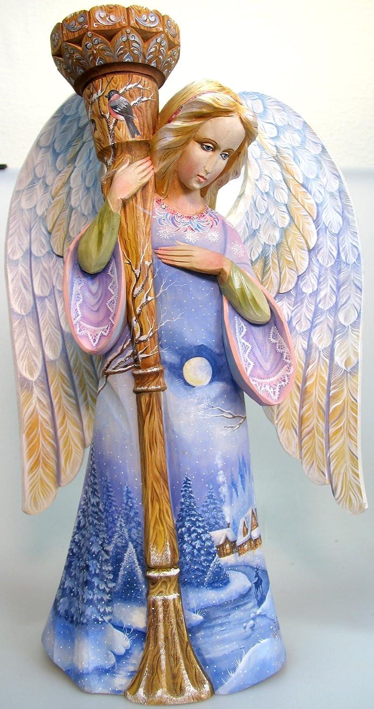 Snow Angel, Handpainted Woodcarved Masterpiece