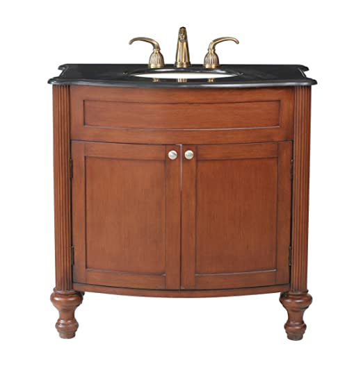 Stufurhome GM-2218-36-BG 36-Inch Georgiana Single Vanity in Dark Cherry Finish with Granite Top in Black Galaxy with White Undermount Sink